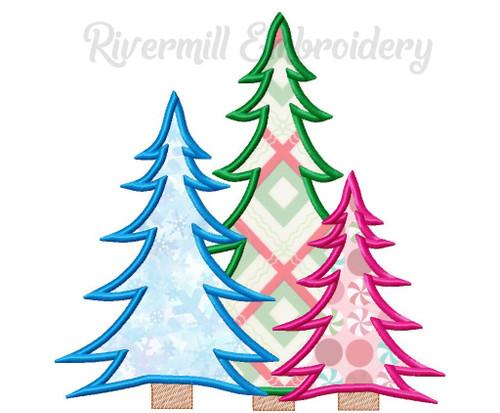 Applique Trio of Trees Machine Embroidery Design