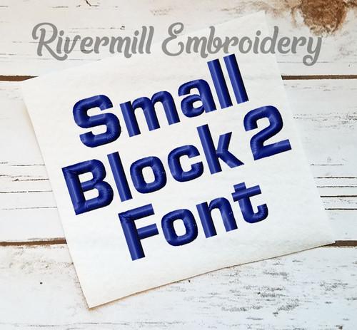 Small Block Machine Embroidery Font - Version 2