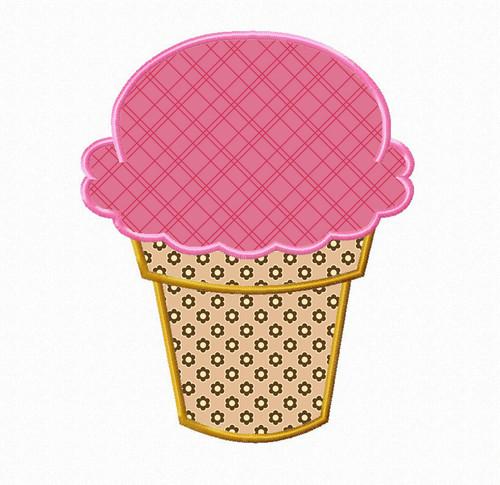 Ice Cream Cone Applique Machine Embroidery Design Version 2
