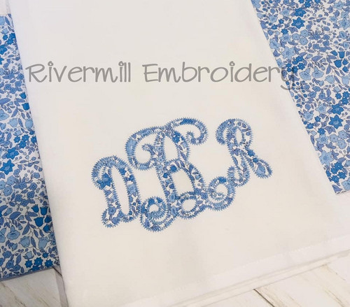 4x4 Size - Intertwined Monogram Zig Zag Applique Machine Embroidery Alphabet Font