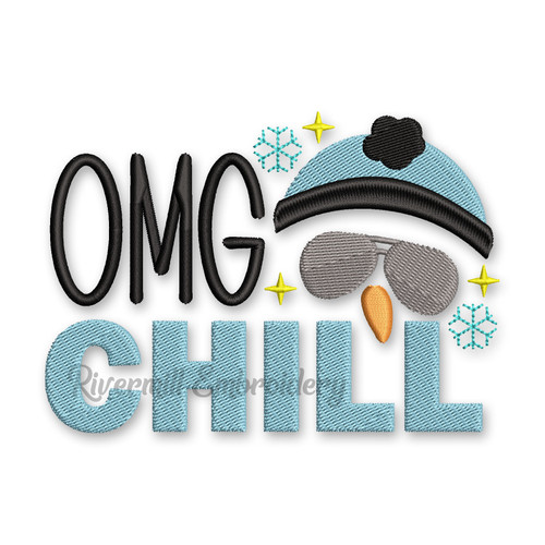 OMG Chill Snowman With Sunglasses Machine Embroidery Design