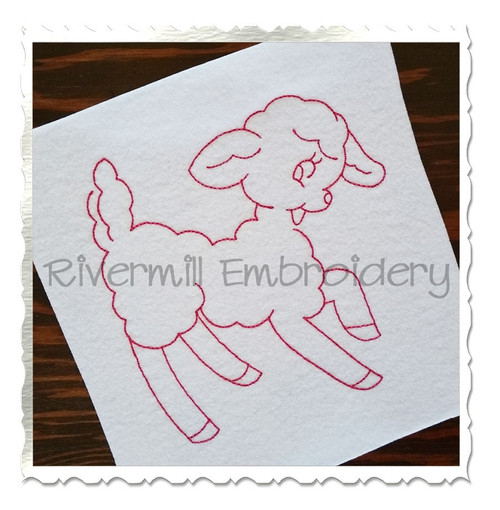 Lamb Vintage Style Machine Embroidery Design
