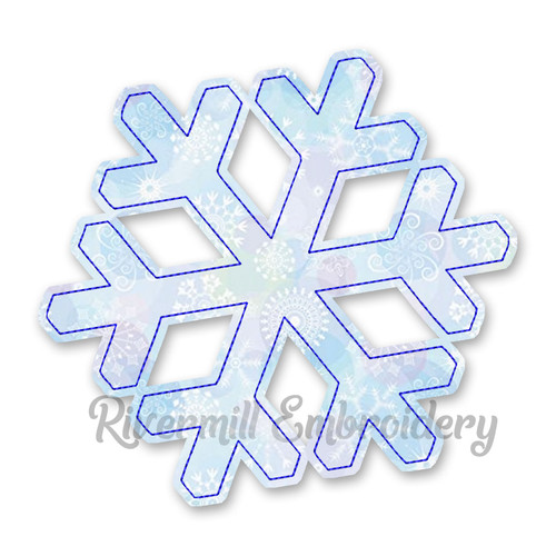 Raggy Applique Snowflake Machine Embroidery Design
