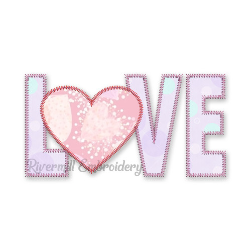 Zig Zag Applique Love With A Heart Machine Embroidery Design