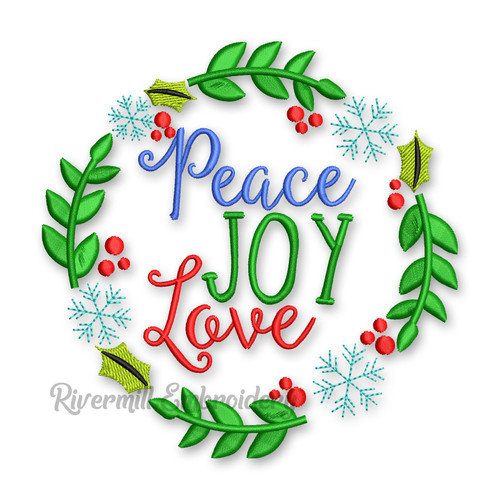 Peace Joy Love In A Wreath Christmas Machine Embroidery Design