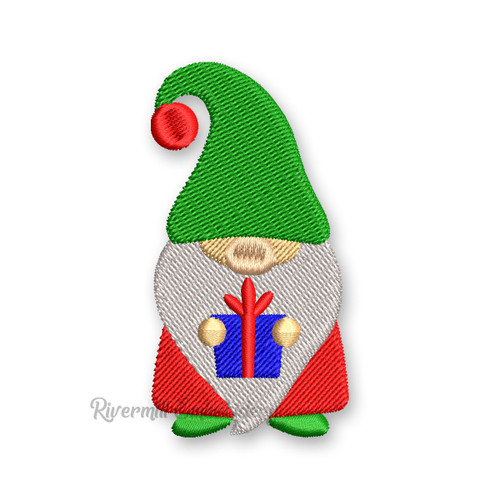 Gnome Holding A Christmas Present Machine Embroidery Design
