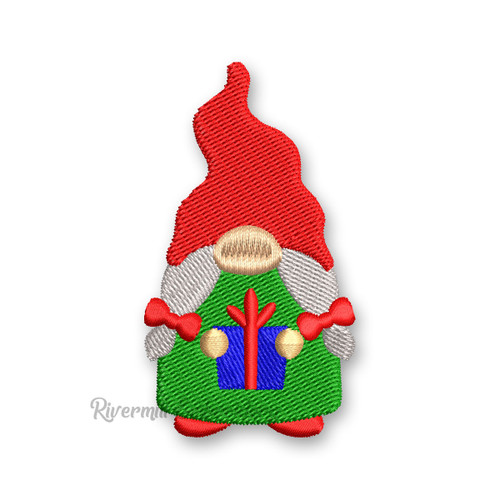 Girl Gnome Holding A Christmas Present Machine Embroidery Design