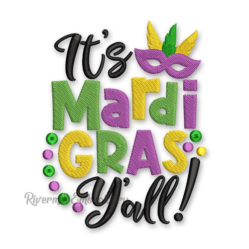 It's Mardi Gras Y'all Machine Embroidery Design