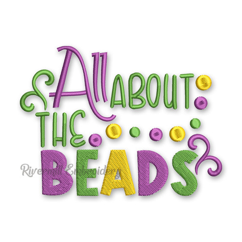 All About The Beads Mardi Gras Machine Embroidery Design