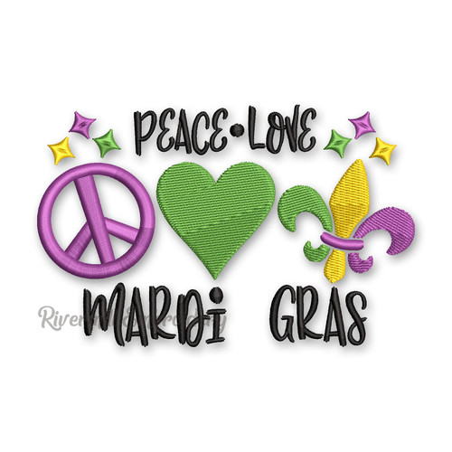 Peace Love Mardi Gras Machine Embroidery Design