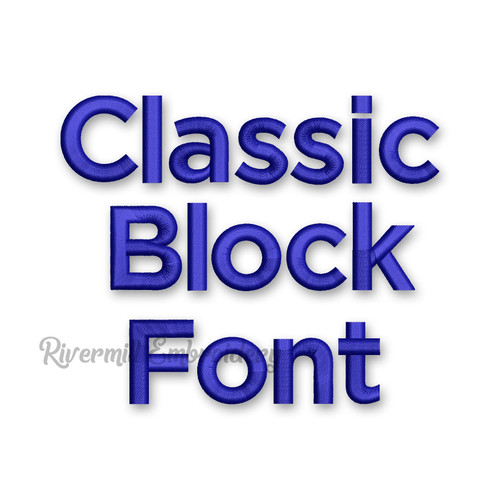 Classic Block Machine Embroidery Font