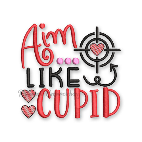 Aim Like Cupid Valentine's Day Toilet Paper Machine Embroidery Design