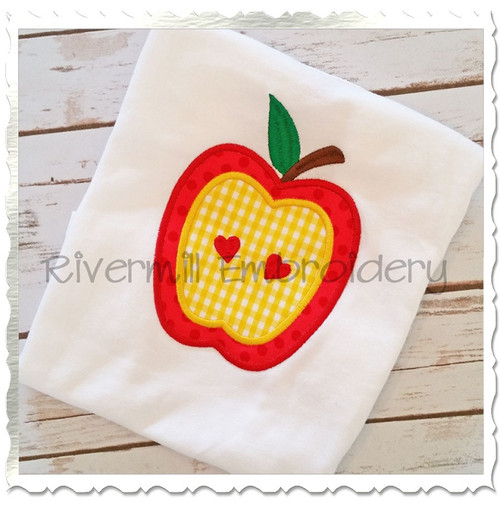 Applique Apple With Hearts Machine Embroidery Design