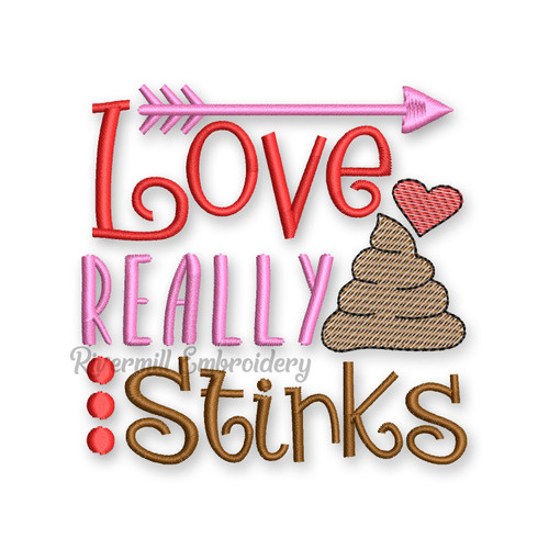 Love Really Stinks Valentine's Day Toilet Paper Machine Embroidery Design