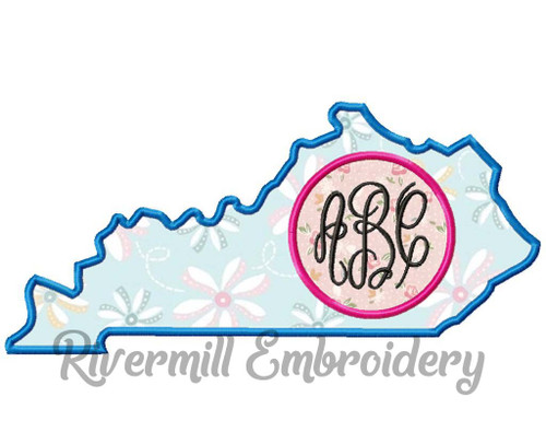 Kentucky Applique Monogram Frame Machine Embroidery Design