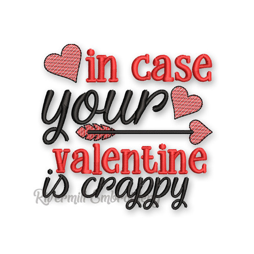 In Case Your Valentine Is Crappy Valentine's Day Toilet Paper Machine Embroidery Design
