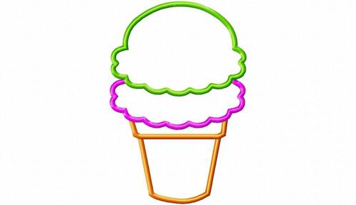 Double Scoop Ice Cream Cone (No Cherry) Applique Machine Embroidery Design