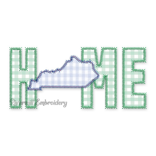 Zig Zag Applique Kentucky  Home Machine Embroidery Design