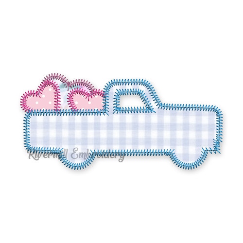 Zig Zag Applique Truck w/ Hearts Machine Embroidery Design
