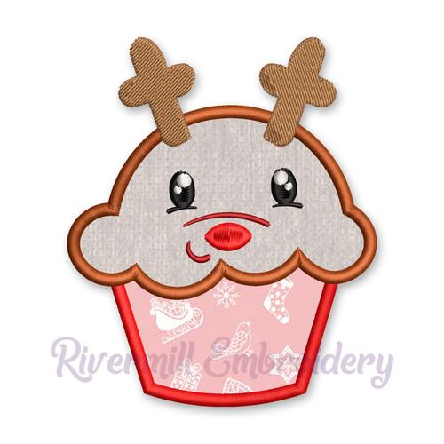 Reindeer Cupcake Applique Machine Embroidery Design