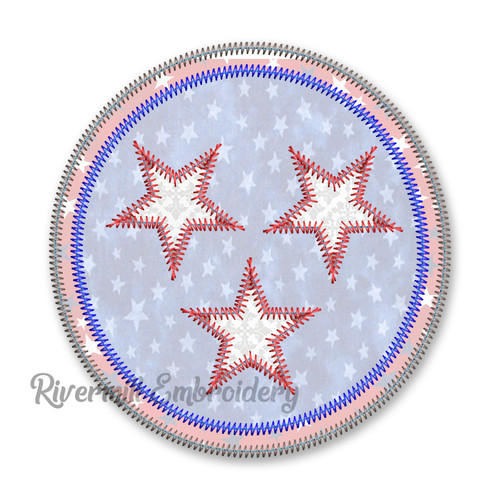 Zig Zag Applique Stars in a Circle Machine Embroidery Design