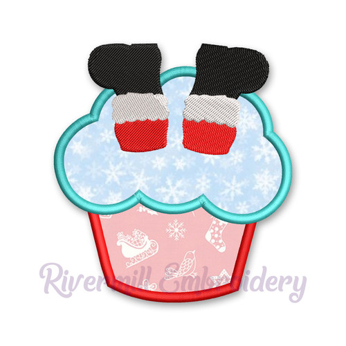 Cupcake With Santa Boots Applique Machine Embroidery Design