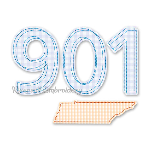 Raggy Applique Tennessee 901 Area Code Machine Embroidery Design
