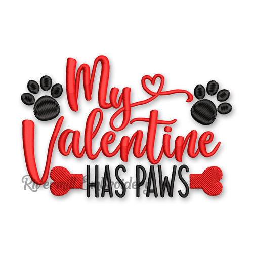 My Valentine Has Paws Valentine's Day Machine Embroidery Design
