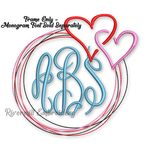Hearts Monogram Frame Machine Embroidery Design