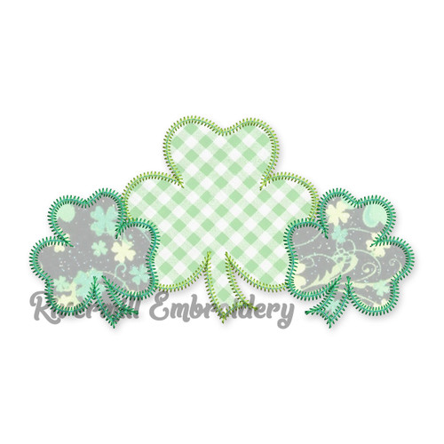 Three Shamrocks Zig Zag Applique Machine Embroidery Design