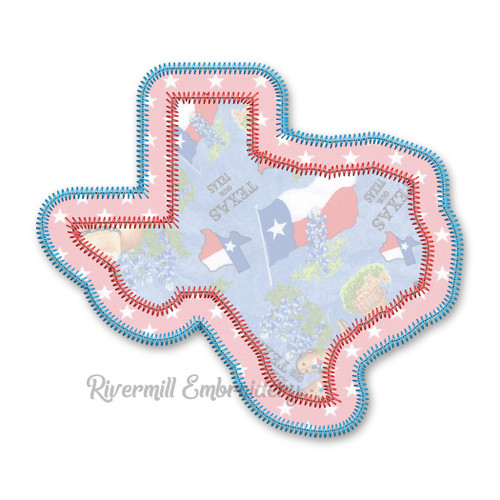 Zig Zag Double Applique State of Texas Machine Embroidery Design