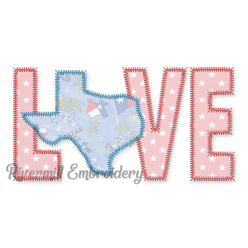 Zig Zag Applique Texas Love Machine Embroidery Design