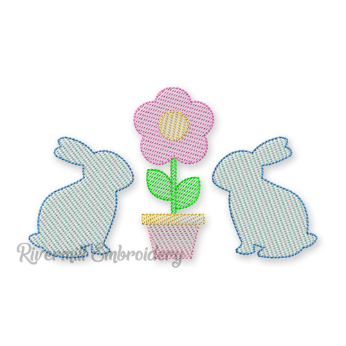Bunny Rabbits & Flower Pot Machine Embroidery Design
