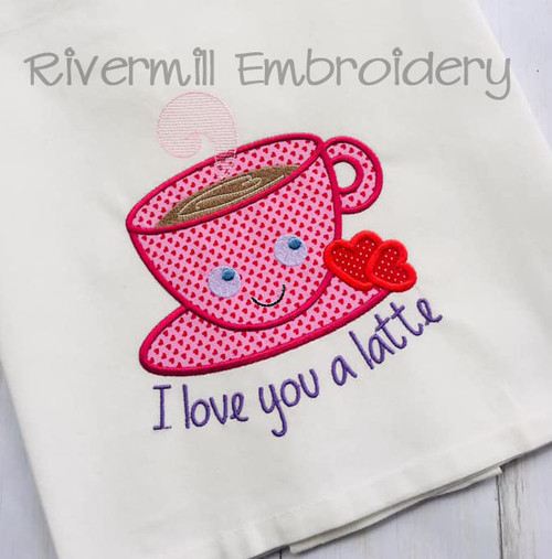I Love You A Latte Machine Embroidery Design