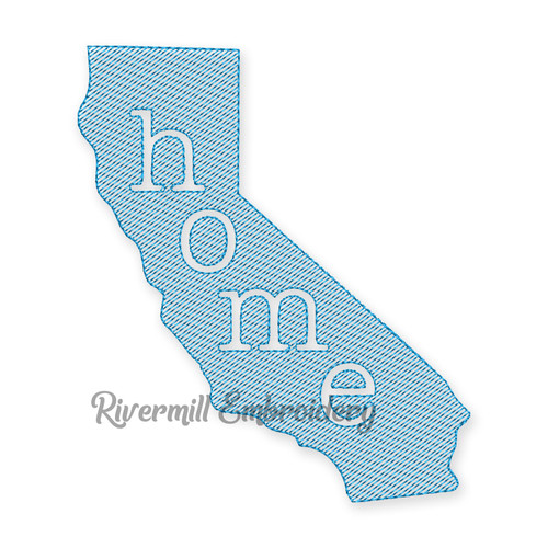 Sketch Style California Home Machine Embroidery Design