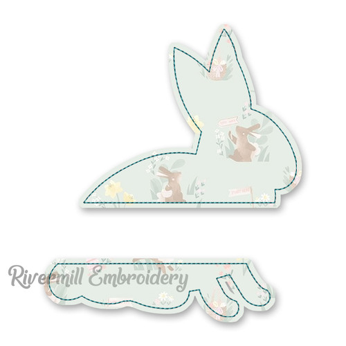 Raggy Rabbit Silhouette Split Applique Machine Embroidery Design