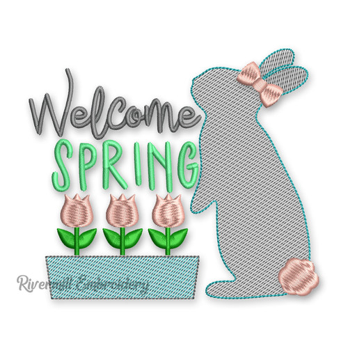 Welcome Spring Rabbit & Tulips Machine Embroidery Design
