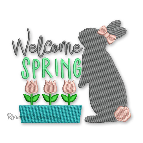 Small Welcome Spring Rabbit & Tulips Machine Embroidery Design