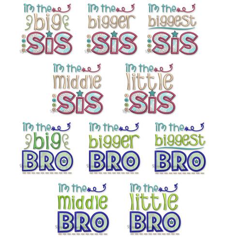 Set of 10 Sibling Designs Big Bigger Biggest Middle & Little Brother & Sister