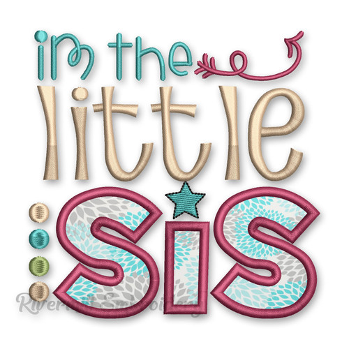 Little Sis Sister Applique Machine Embroidery Design