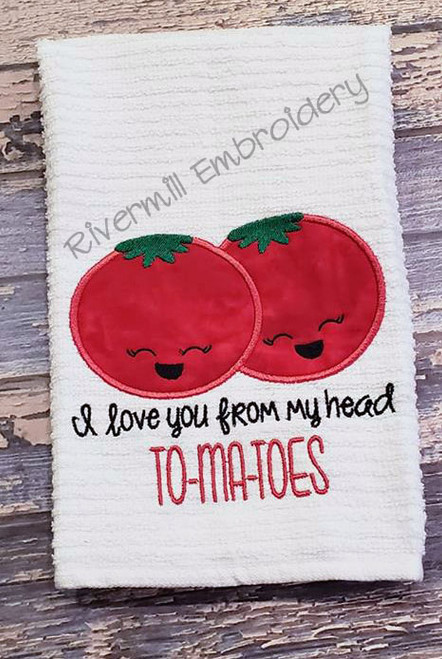 I Love You From My Head To Ma Toes Applique Machine Embroidery Design
