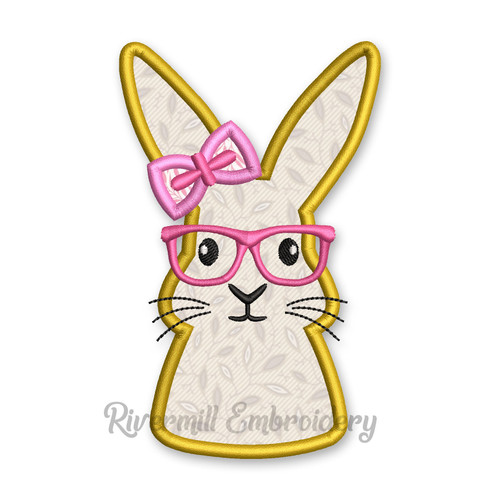 Girl Bunny Rabbit With Glasses Applique Machine Embroidery Design
