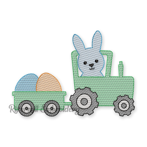 Sketch Style Bunny In Tractor Pulling Easter Eggs Machine Embroidery Design