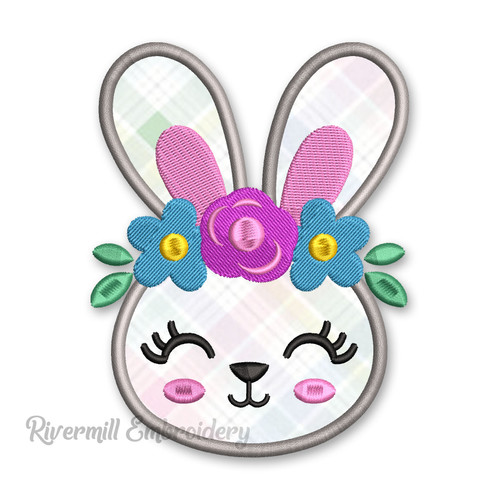 Bunny Rabbit With Flower Headband Applique Machine Embroidery Design