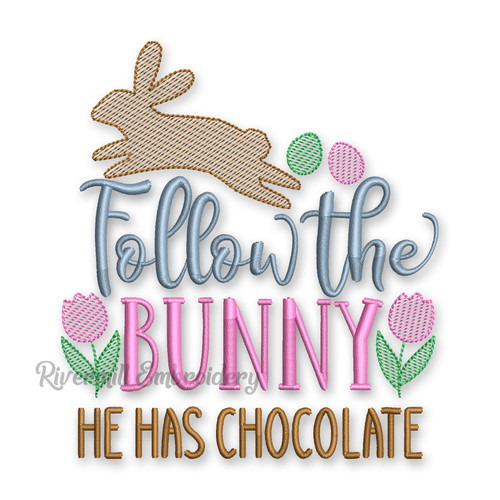 Sketch Style Follow The Bunny  He Has Chocolate Machine Embroidery Design