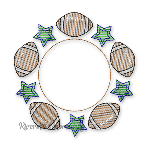 Sketch Style Football Monogram or Initial Frame Machine Embroidery Design