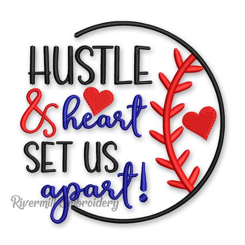 Hustle & Heart Set Us Apart Baseball or Softball Machine Embroidery Design