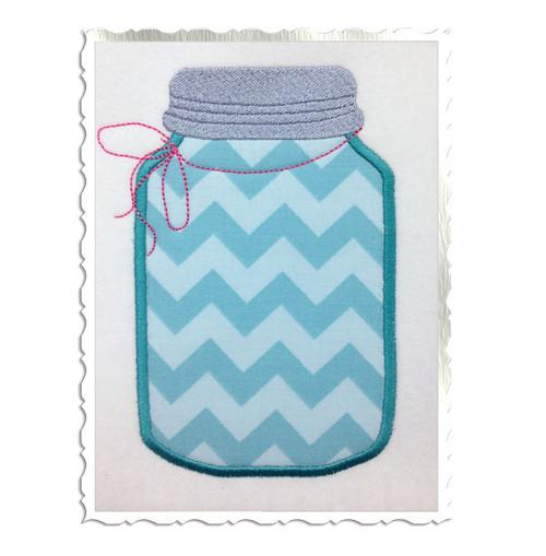 Applique Mason Fruit Jar Machine Embroidery Design