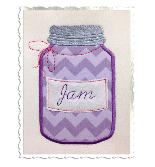 Applique Jam Jar Machine Embroidery Design