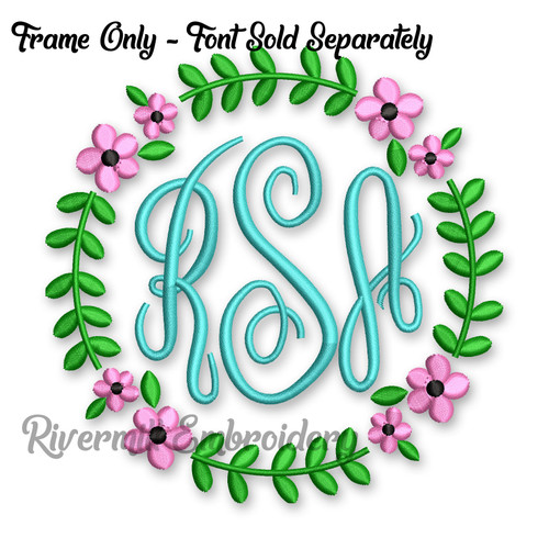 Flower Wreath Monogram Frame Machine Embroidery Design